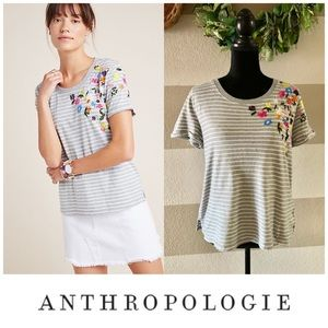Anthropologie Twylia striped embroidered top